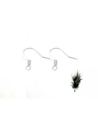 Crochet boucles d'oreilles 16mm laiton argenté
