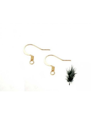 Crochet boucles oreilles 16mm laiton doré X12
