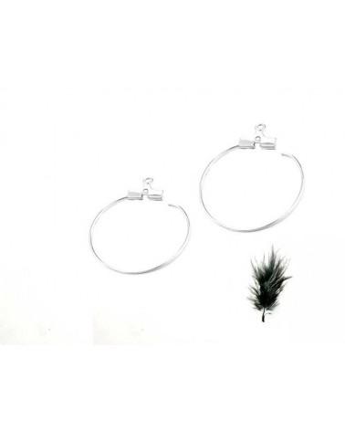 Support Boucles d'oreilles créole 1 anneau 20mm platine X2