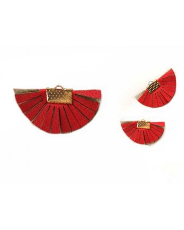 Pendentif Eventail 35x20mm franges simili cuir Rouge x1