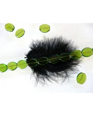 Perle-de-verre-ovale-lisse-16 x 14 x 4 mm-vert-anis x 10