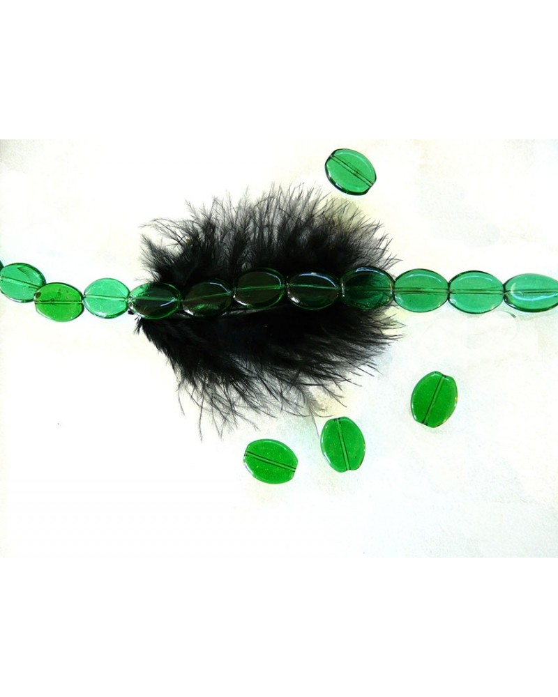 Perle-de-verre-ovale-lisse-16 x 14 x 4 mm-Vert-prairie x 10