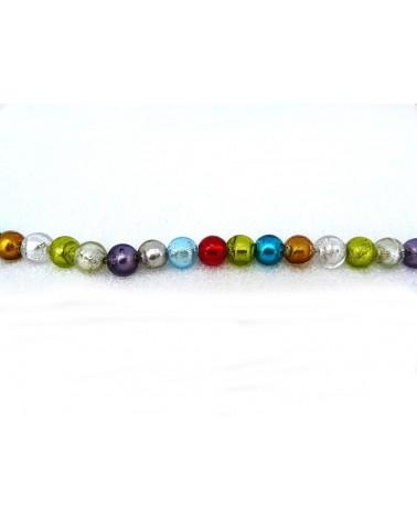 Perle 8mm Verre et feuille d'argent par 7 couleurs différentes