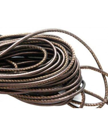 Cuir Nappa rond 2.5mm Acajou Brun X 50cm
