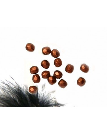 Facettes 4mm Bronze rouge mat X50