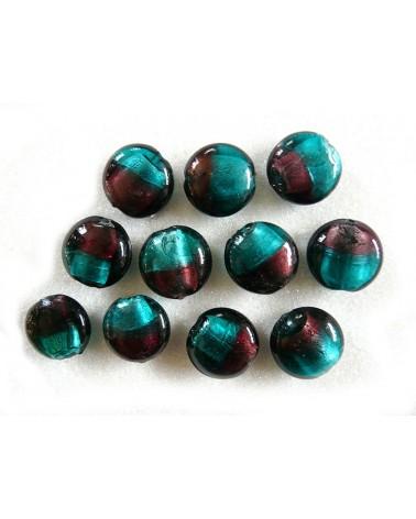 Perle-en verre-Prune-et Vert-20 x10mm x 1-G