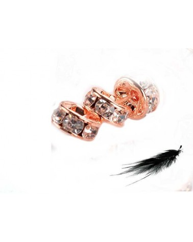 Rondelle Strass AAA 6mm Doré rose X1