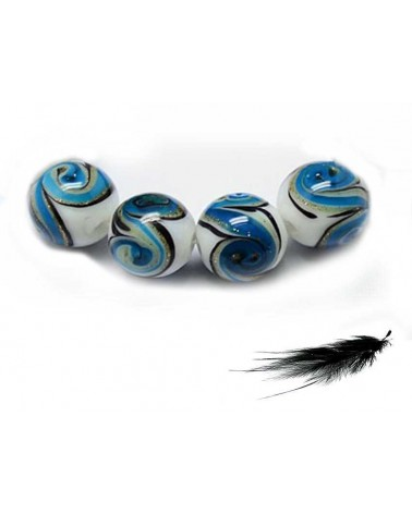 Boule vague Turquoise 12mm sable or x 1
