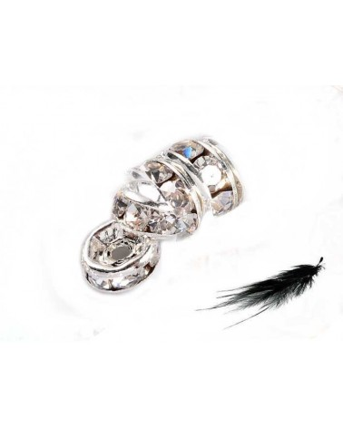 Rondelle inox 6mm strass crystal X1