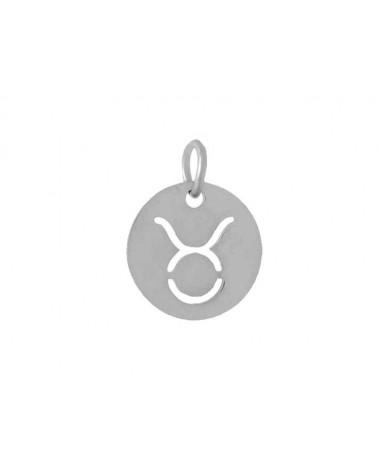 Pendentif signe du zodiaque Taureau12mm inox X1