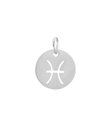 Pendentif signe du zodiaque poissons12mm inox X1