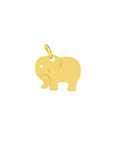 Pendentif éléphant 14x11mm inox doré x1
