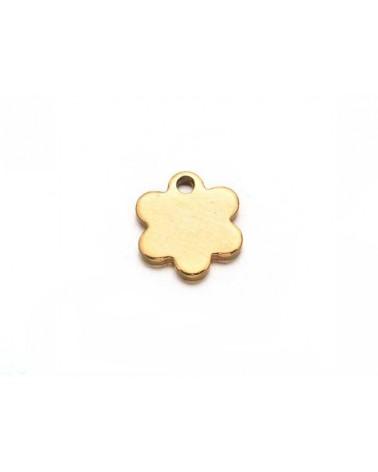 Breloque  fleur 9mm inox doré x1