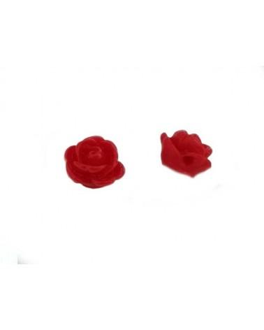 Rose 9mm résine rouge x1