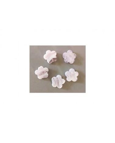Fleur verre 20mm Rose et blanc X 1