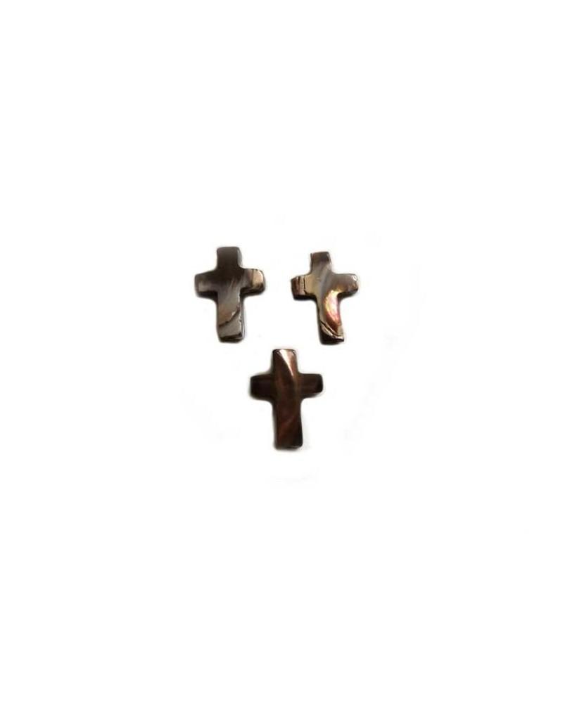 Croix percée nacre brune 15x10mm X1