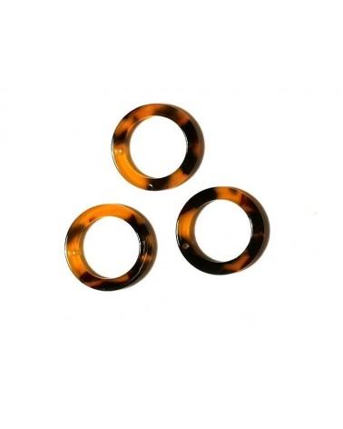 Pendentif anneau 21mm acétate de cellulose écaille de tortue X1