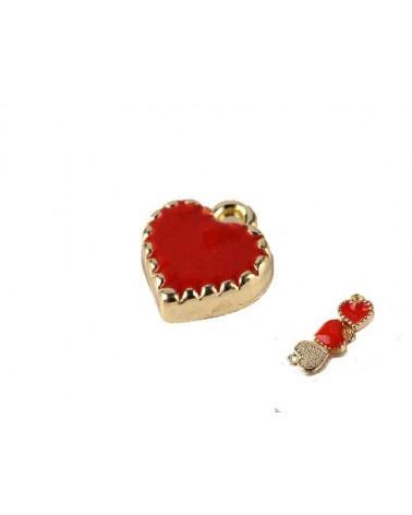 Breloque coeur 8x7,5mm émaillé rouge doré X1