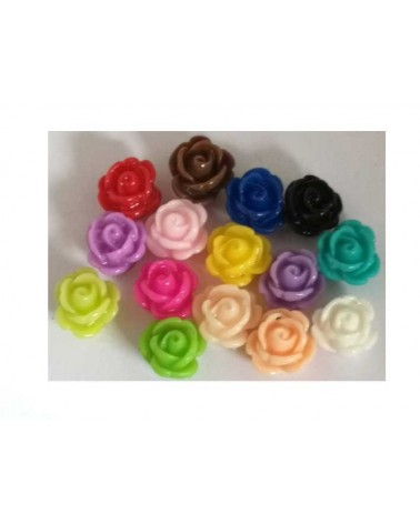 Rose 9x7mm résine couleurs Mix x 20