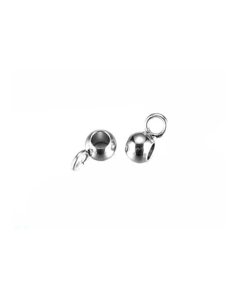 Attache pendentif 7mm pour cordon 1.5mm inox X 5