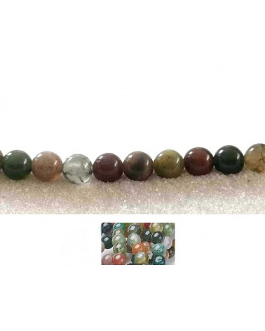 Agate indienne 6mm multicolore X 15