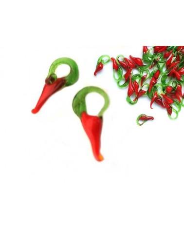 Pendentif mini piment rouge 12x7mm X 6