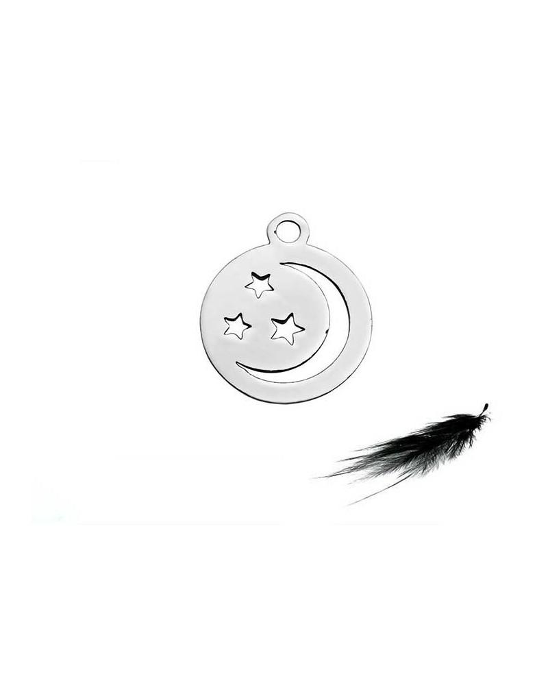 Breloque Etoile et croissant de lune 12mm médaille inox X1