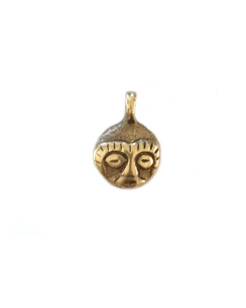Pendentif masque 19x13mm bronze X1