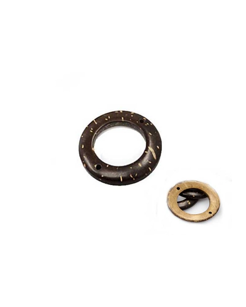 Connecteur anneau 30mm Coco brun x 1