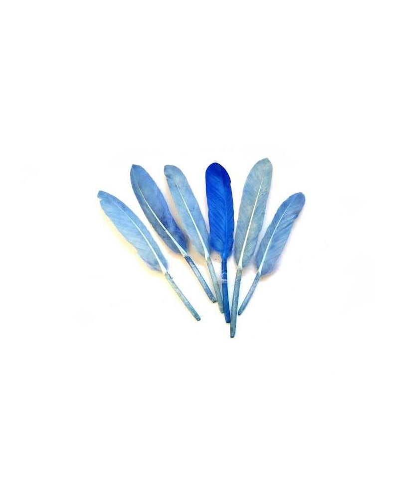 Plume d'oie 100-150mm Bleu X3