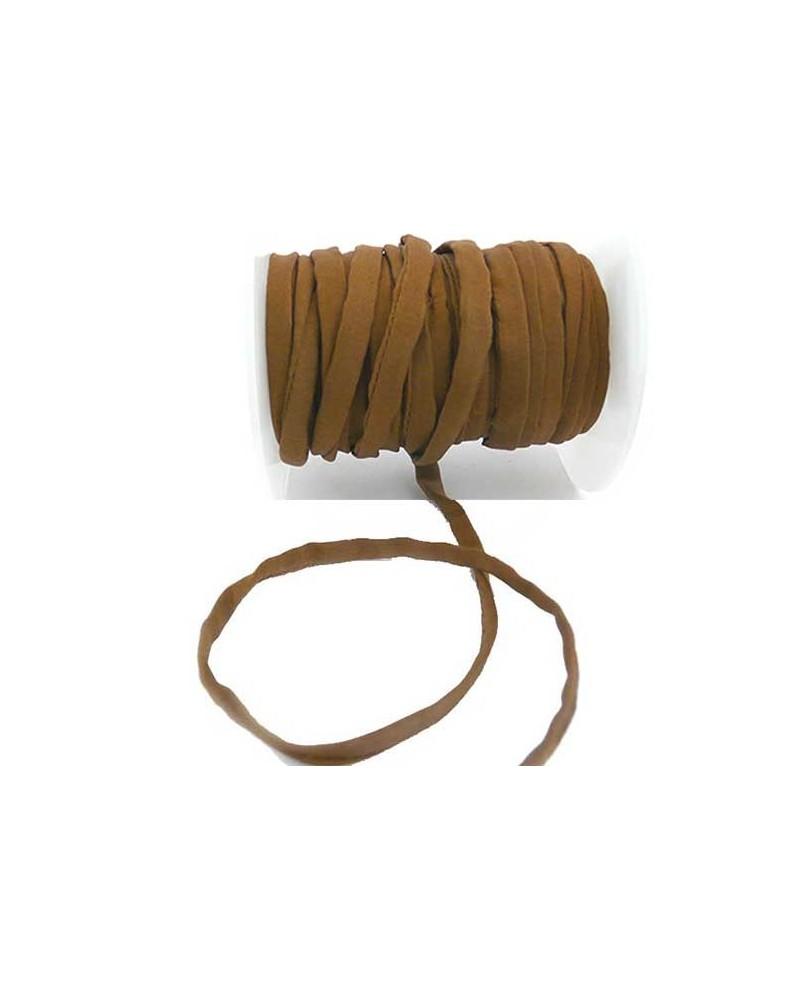 CORDON en SOIE HABOTAI Roulottée 5mm CAFE x  0,50 M