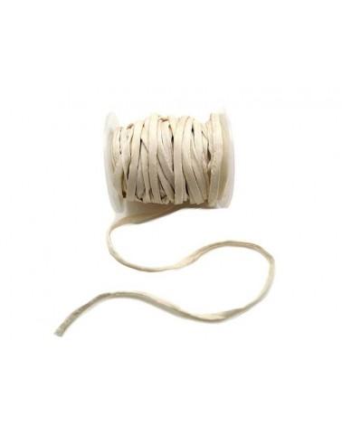 CORDON en SOIE HABOTAI Roulottée 5mm blanc ivoire