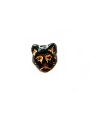 Tête de chat  en verre de Bohême 12mm Noir X1