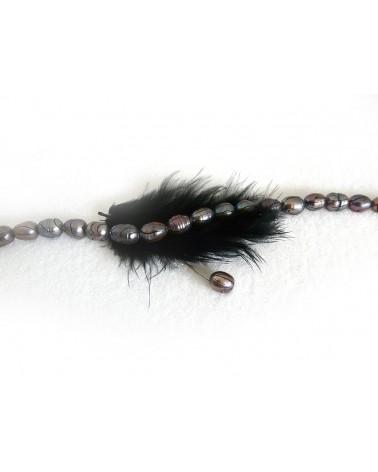 Perles d'eau douce grade A gris-foncé-pourpre 8-9mm X 4