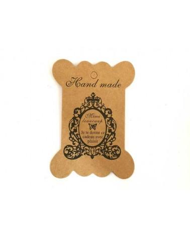 Carte décorée 100x60mm Hand made rétro X1