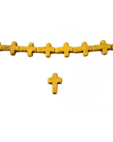Croix Howlite synthétique 16 x12mm jaune X1