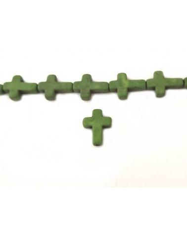 Croix Howlite synthétique 16 x12mm Vert X1
