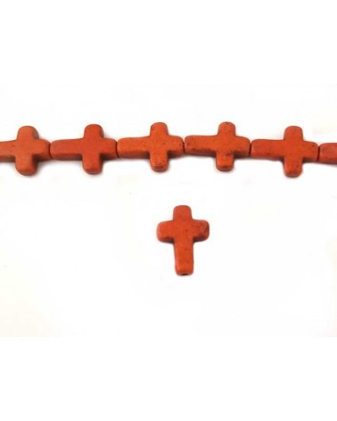 Croix Howlite synthétique 16 x12mm orange X1