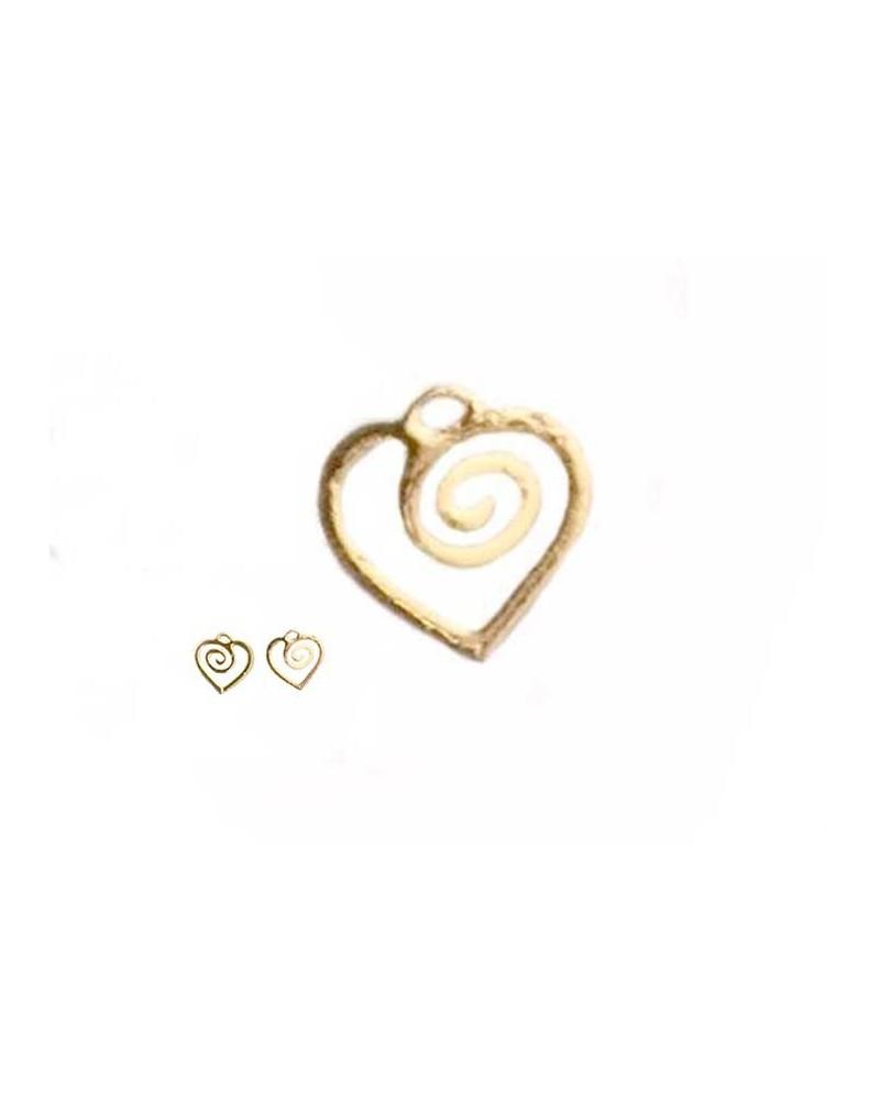 Breloque Coeur filigrané 8mm doré rose X1