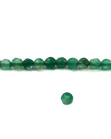 Agate facettée 4mm Vert Emeraude x20