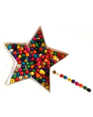 Perles en bois 14mm mix couleurs X 35