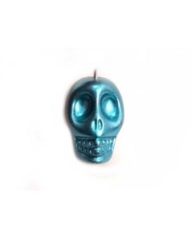 Tête de mort 13mm laqué Bleu x1