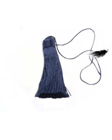 Pompon polyester 8cm Bleu foncé X1