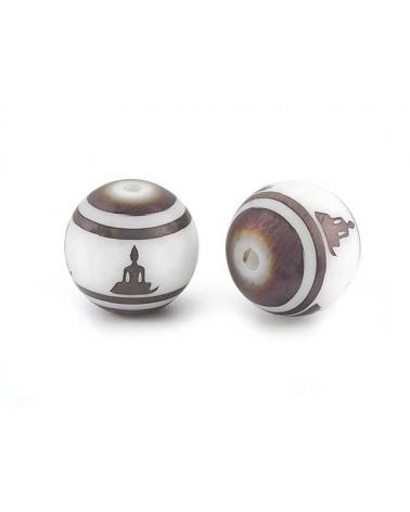 Ronde 10mm verre décor de Bouddha brun