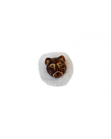 Perle CHAT en verre de BohêmeCRISTAL 12x11mm