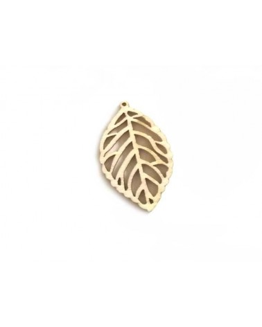 Pendentif feuille charme 46x27mm x1