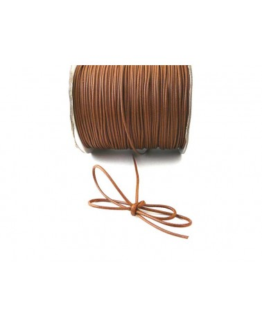 Cordon ciré tressé Marron caramel 1,5mm