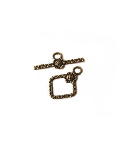 Fermoir T losange 21x15mm bronze X 1