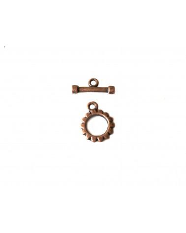 Fermoir T coeur 22mm cuivre antique x1