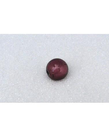Perle-12mm-verre-a -la- feuille- d'argent- Prune-B26